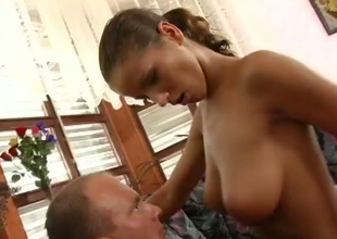 Sizzling hot whore with big natural tits likes to control during sex