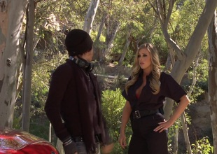 Samantha Saint bent over the hood of his car and fucked doggystyle
