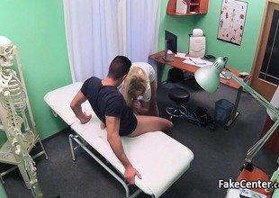 Hot blonde nurse riding lucky patient