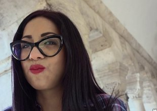 Darksome haired Latin chick student in glasses picked up and fucked hard
