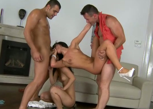 Brunette seductress Bettina Dicapri goes wild in hot four some clip