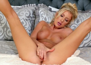 Carnal bedroom solo with blonde Kathrynn St-Croixx
