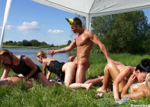 Dirty bunch goes camping and have a tremendous fuckfest outdoors