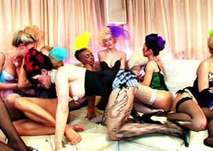 Showgirls in elegant outfits have a wild lesbian orgy
