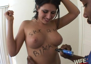 Hardcore interracial blowjob and deepthroat with a horny slut