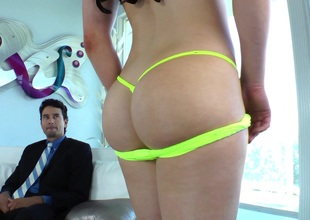 Awesome brunette Cheyenne Jewel bangs a guy's butt with strapon