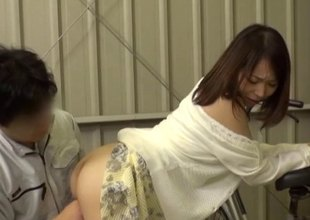Japanese cardigan and dress hottie bent over and fucked