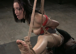 Bootylicious pallid brunette hair is fixed in One leg semi-suspension