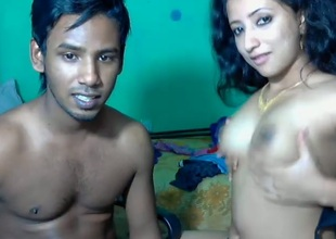 Black skinned Srilankan man plays with sexy love bubbles of his charming wife