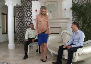 Sweet Lucy experiences a DP ahead facial in MMF shoot