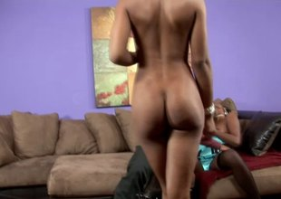 Adorable ebony honeys in an FFM threesome in a close up shoot