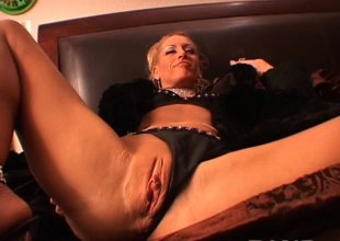 Lewd blonde double permeated in an orgasmic group sex in pov