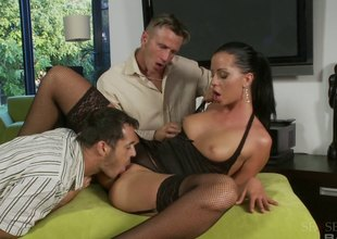 Larissa Dee a beautiful horny co-wife in fishnet was fingered and licked waiting rough sex mmf