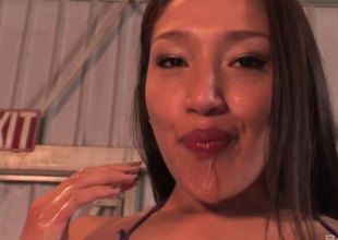 Kinky babe deep throats that monster cock in a reality discharge