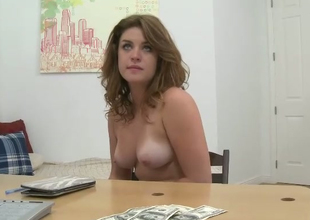 Nasty red head Chloe Hart takes off jeans shorts and exposes her pinkish pussy