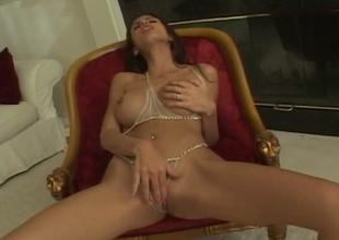 Bonerrific brunette girl performs fantastically arousing solo sex movie