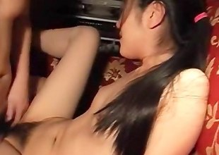Hairy and pretty sweet, my Asian girlfriend is quite a playful lassie. She likes being sprayed with jizz after proper fucking and I always do it that way.