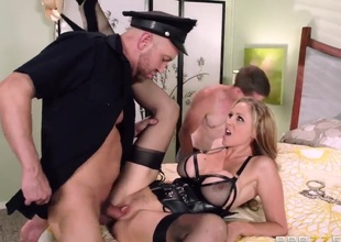 Julia Ann does it with two guys