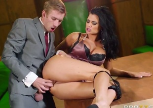 Jasmine Jae with giant melons finds herself blowing Keiran Lees stiff ram rod