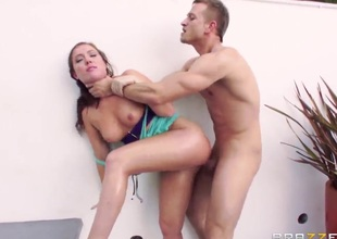 Maddy Oreilly is a horny girl with a alluring ass. It is the 1st thing that men notice on her. In this scene it is getting an anal group-sex after she has gotten a dick hard with her mouth.