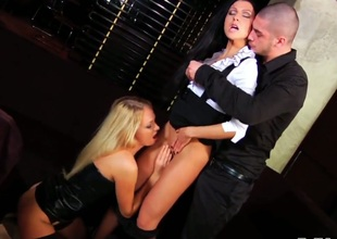 Nataly Gold spreads her butt cheeks for Timo Hardy invitingly in anal act after oral job