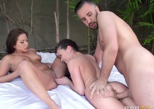 Kalina Ryu , Morgan Lee and Keiran Lee do a threesome. The girls are getting rubbed by a hard dick. The ladies also play close attention to each others pussies.