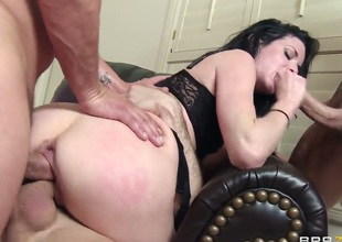 Veronica Avluv is in a gangbang. She finds out that this babe can take all of them on at the same time and we watch her having group sex in this video. She is overspread in cum.