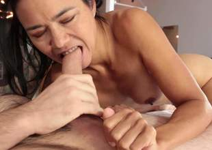 In nature's garb raven haired MILF Dana Vespoli is a cock sucking addict. She deepthroats a dick and eats mans balls right in front of the camera. She can't live without sucking his meaty sausage
