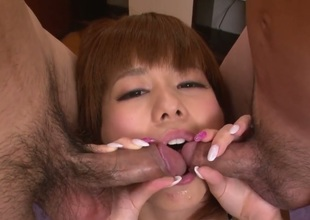 Milf Airu Oshima with juicy jugs does dirty things and then gets painted with man cream