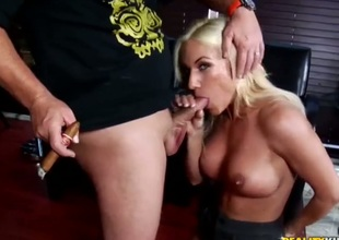 Blonde with large boobs and clean bush is in heaven sucking dudes meaty love wand
