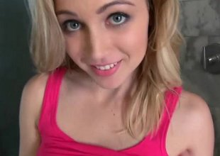 Hot teen with gorgeous eyes shows her pretty smile