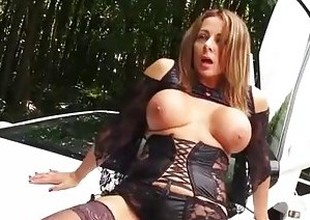Dirty cumslut Milf is bent over sports car for hard and fast pussy fuck
