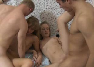 Vehement gangbang fucking session with ladies