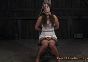 Gagged angel with clamped nipples gets wild pleasure