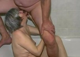 Hot Slutty spectacled granny and Young guy fuck