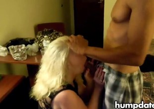 Blonde mature hotwife sucks black shlong