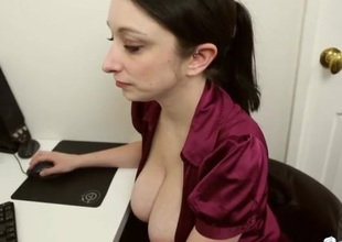 Large secretary tits in a sexy unbuttoned blouse