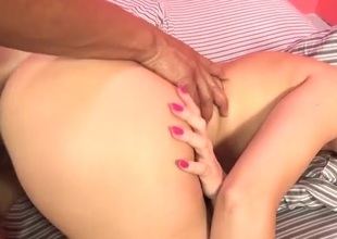 Dark cock drills this horny redhead doggystyle