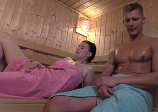 Sauna sex with cock hungry nymph