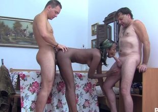 Hot German swarthy chick has a threesome with two chaps
