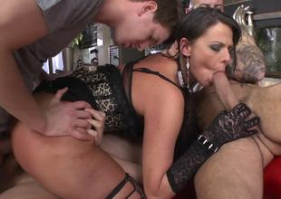A perfect slave slut is getting screwed by several large men